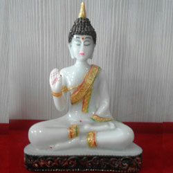 This lord Buddha idol is made up of white marble Size : 3ins to 4ins