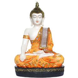 Polyresin Sitting Buddha Idol Statue Showpiece Orange and White Size (L x W x H): 20 cm x12cm x 30 cm