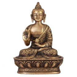 Brass Statue Of Buddha Blessing With Sacred Kalash & Draped In Shawl, 