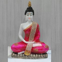 Polyresin Sitting Buddha Idol Statue Showpiece Pink and White