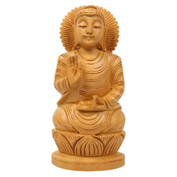 PPD Wooden Hand Carved Lord Buddha Home Decor Idol / Statue Showpiece - 10 Cm (Wooden MultiColour)