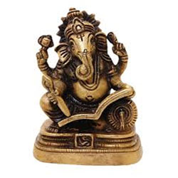 Classic Ganesha Statue Brass for Performing Puja at Home Temple Mandir 3.5 Inch