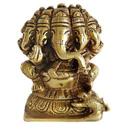 Pure Brass Metal panchmukhi Ganesh statue 3.5 Inch
