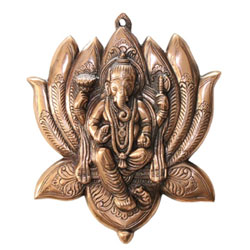 Lord Ganesh Seated On A Lotus Wall Hanging 13 Inch Showpiece - Handcrafted Article for Wall Décor and Gifts