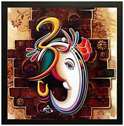 Ganesha' Framed Painting  <b/r>(Wood, 30 cm x 3 cm x 30 cm) <b/r>Material: Wood, Color: Multicolour