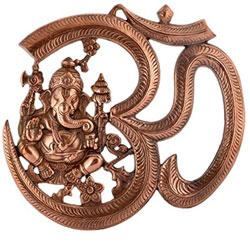 Handicraft Hindu Lord Ganesha Metal Wall Hanging Sculpture God Ganesh Idol Home Decor Decorative Wall Mask (27 cm x 1 cm x 24 cm,)