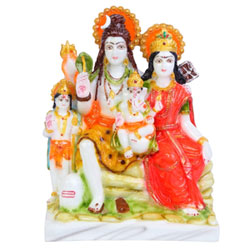 Divine Gifts Shiv Parivar Marble Marble Idols for Pooja Room Colour (Multi-Coloured) 