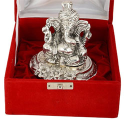 Silver Plated Antique Finish Traditional Pagdi Ganesha God Idol Exclusive Gift For House Warming . Wedding Gifts ,Anniversary Gift , Return Gift