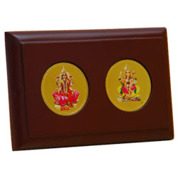 Table Goddess Lakshmi & Ganesh Gold Plated beautiful photo frame