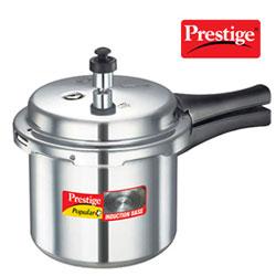 Prestige Popular Plus Induction Base Aluminium Pressure Cooker, 3 Litres