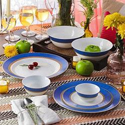 La Opala Diva Sovrana 39 Pcs Ameerah Blue Dinner Set Pack Content: 6 Dinner Plates, 6 Quarter Plates, 6 Veg Bowls, 6 Soup Spoons,2 Serving Bowls, 6 Soup Bowls & 1 Platter