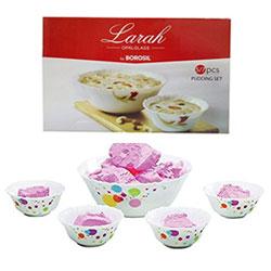 Borosil Larah Opal Glass Pudding Set 5N ,Colour as per availability