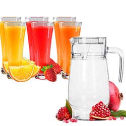 Crystal Glass Lemon Set | 1 Jug (1.5 L) and Set of 6 Glasses Set (250 ml) each
