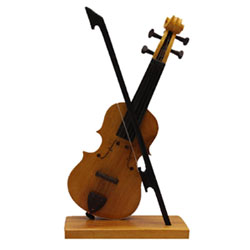 <strong> Violin </strong> Handmade Crafted Miniature Pure Wooden <br>Upto 10 Inch height <br> Decorative Showpiece Gift <br> Does Not Play Sound <br>