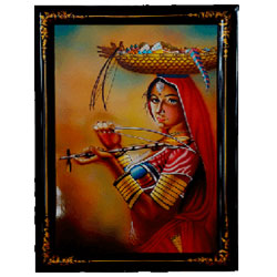One can clearly notice the novelty and exclusivity of Nirmal paintings that shows a rural woman playing a traditional musical instrument.