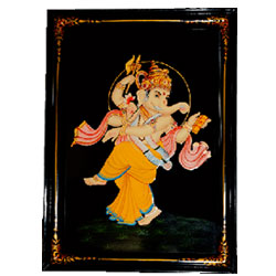 he novelty and attractiveness of Nirmal paintings can be seen here in this portrait of Lord Ganesha