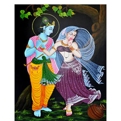 Nirmal Painting depicting still of Lord Krishna with Radha.