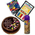 Hamper : 1 Kg Chocolate Cake with Happy Birthday Message, Candles, Baloons (25nos)and also has a Snow Spray to add a blast on the occasion.