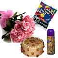 Hamper : 1/2 kg Butterscotch cake with a Bunch of 12 Pink Roses. Also comes with balloons and a snow sprayer