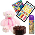 This Hamper consists of a Teddy Bear( Height: 10 Inches), a 1/2 Kg Chocolate Cake. <br>
