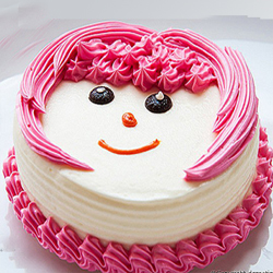 A super yummy half kg cake in strawberry flavor cake that is completely covered with lush pink and white cream