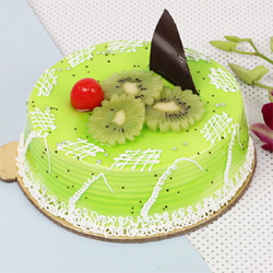 This cake gives the essence of fresh kiwi fruit. A perfect gift for someone who loves kiwi fruit. It is suitable for all occasions and ages