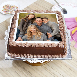 Give a delicious treat to your loved ones on any occasion with this lip-smacking Black Forest Square 2 Kg Personalized Photo Cake