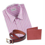 Branded Shirt, a Wallet and a Belt.  The colour of the shirt may vary according to the availability and Size.  Default size is 40.