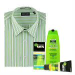 Branded Shirt,Available in sizes 39, 40, 42, 44.<br> Garnier Men's care:<br>  - Garnier Fructis Shampoo 100 ml, <br> - Garnier Moisteriser oli Control 50gm , <br> - Garnier Face wash 100 gm.  <br>  The colour of the shirt may vary according to the availability and Size.  Default size is 40.