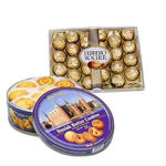 This Hamper consisting of a Ferrero Rocher box with 24 pieces chocolates and a box of Danish Butter Cookies,