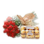 Hamper contains 16pcs Ferrero Rocher Chocolate box and 20 red roses bunch