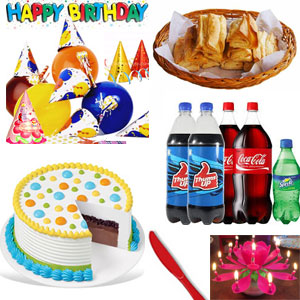 Lively b'day accessories to This hamper includes Happy Birthday Banner + Party Hats-(10no Pak ) + Birthday Lotus candle (1no ) + Colour paper ribbons pack ( 1no )+ Unblown Birthday Balloons Pack.snow spray Veg Puffs - 12 Pcs Hot and Spicy Curry Puffs+2kg Round black forest cake +2ltr thums Up soft drink 2ltr+1ltr Coca-Cola+1ltr sprite
