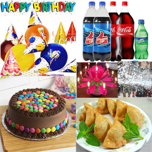 Lively b'day accessories to This hamper includes Happy Birthday Banner + Party Hats-(10no Pak ) + Birthday Lotus candle (1no ) + Colour paper ribbons pack ( 1no )+ Unblown Birthday Balloons Pack.snow spray 12pcs Punjabi big Samosa+2kg Round Gems cake +2ltr thums Up soft drink 2ltr+1ltr Coca-Cola+1ltr sprite