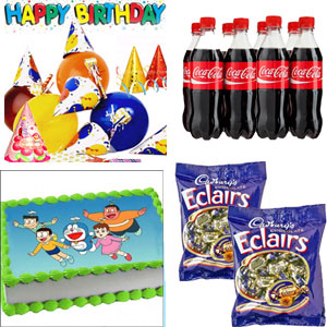 Lively b'day accessories 6pcs Thums Up pet Bottle 6pcs Coca-Cola 2kg Doremon Famliy Photo Cake Cadburys Chocolate Eclairs two packet