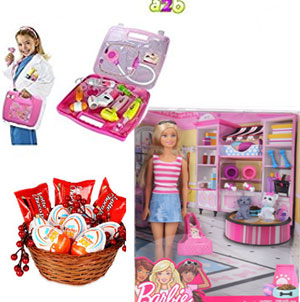 Barbie Doll With Pets - Pink+A2B Battery Operated Doctor's Kit with Light Sound Effects, Multi Color 6 Lotte Choco Pie 6 pieces Kinder Joy Egg shape Chocos - (for Girls)-