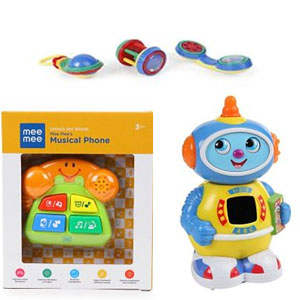 Mee Mee Rattle Set Set of 3 - Multi Color+Mee Mee Space Robot Musical Toy +Mee Mee Musical Phone Toy