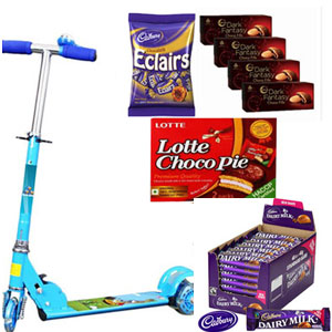Cadbury Dairy Milk Chocolates 56 Bars. 786 gms+Angry Bird Scooter+Sunfeast Dark Fantasy Choco Fills Luxuria 75gm (Pack of 4) Lotte Choco Pie (pack Of 12), Carton, 336g Cadburys Chocolate Eclairs 130g