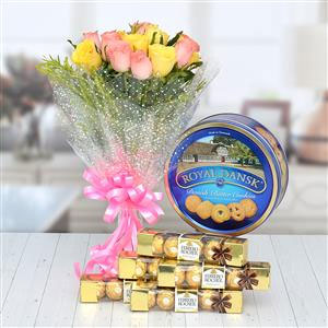 8 pink and 7 yellow roses bunch, ferrero t5 x 5 pack set express delivery, royal danish butter cookies express delivery (400 gm)