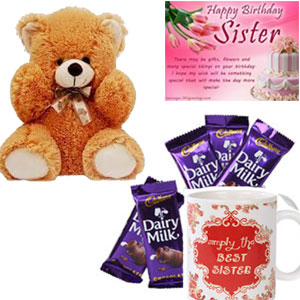 This is a combo of Five Cadbury Dairy Milk Chocolates of 12.5 grams each and One Printed Mug with a lovely message.10Ins brown teddy bear