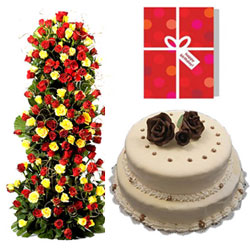 A gorgeous huge arrangement of 100 red and yellow roses with lots of green fillers +2 step cake 4kg for all sorts of celebrations, ButterScotch Flavour + Birthday Greeting card