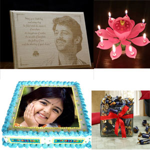 This fantastic personalized cake 1.5kg +Photo Engraved on wood W3 ( Baltic Birch) +Flowering Musical Birthday Candle