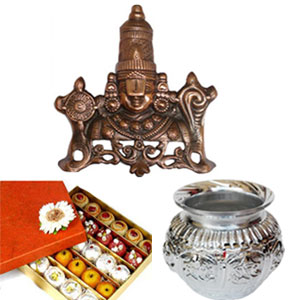 Lord Balaji made with gun metal. Ideal gift for a auspicious occasion +500GMSkova mixed sweets + White Metal kalasam height:10 CM