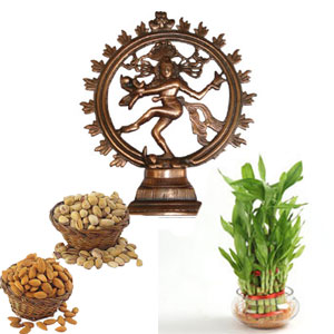 Good Luck Three Layer Bamboo Plant+250 Gms Badam 250 Gms Pista Healthy food for every one + Natraj Gunmetal antique showpiece