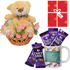 This is a combo of Five Cadbury Dairy Milk Chocolates of 12.5 grams each and One Printed Mug with a lovely message.10Ins brown teddy bear 10 pink roses basket