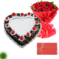 1kg Eggless Blackforest Paradise Cake 12 red roses bunch Greeting card 