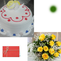 1kg Vanilla Eggless Cake + 12 yellow roses bunch  <br> Pls place your order one day in advance.<br>