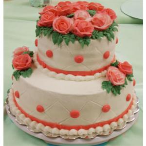 2 Tier Designer 4 kg Cake with floral design. Pineapple Flavour.