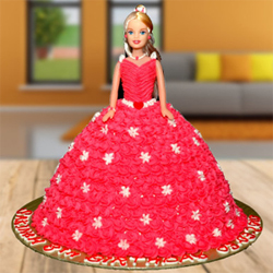 Black Forest Barbie Doll Cake The cuteness and beauty of Barbie Doll attract every girl. 