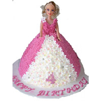 4kg  Barbie Cake , Flavour : Strawberry ( need one day advance order at least) Eggless, Cakes to Delhi