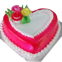 1 Kg birthday Heart shape Strawberry cake to your near and dear, Quality Cakes from Best Bakeries.